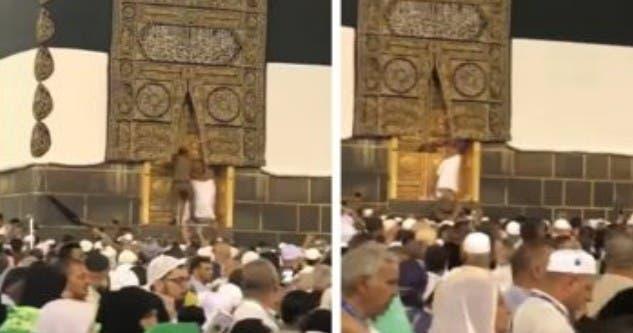 Photo of حاج يحاول اقتحام باب الكعبة وملابس الإحرام تنزل من عليه