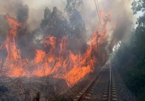Photo of حريق مهول ضواحي أصيلة يوقف حركة القطارات