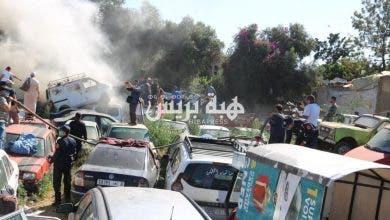 Photo of الوقاية المدنية تخمد نيراناً اندلعت بمحجز بلدي للسيارات بالبيضاء (صور +فيديو)