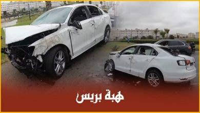 Photo of سائق سيارة في حالة سكر يسير بسرعة جنونية ويصدم مجموعة من السيارات بالطريق السيار البيضاء