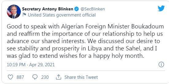 الخارجية الأمريكية تكذب ما ذكرته نظيرتها الجزائرية حول مباحثات بليكن مع بوقادوم